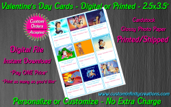 Aladdin Jasmine Digital or Printed Valentines Day Cards 2.5x3.5 Sheet #2