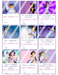 Aladdin Jasmine Valentines Day Cards Sheet #3 (instant download or printed)