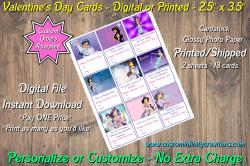 Aladdin Jasmine Digital or Printed Valentines Day Cards 2.5x3.5 Sheet #3
