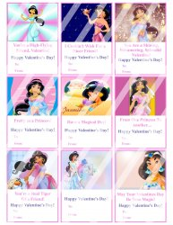 Aladdin Jasmine Valentines Day Cards Sheet #4 (instant download or printed)