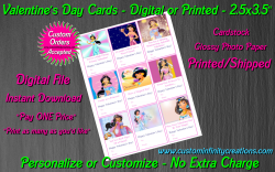 Aladdin Jasmine Digital or Printed Valentines Day Cards 2.5x3.5 Sheet #4