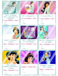 Aladdin Jasmine Valentines Day Cards Sheet #5 (instant download or printed)