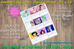 Aladdin Jasmine Digital or Printed Valentines Day Cards 2.5x3.5 Sheet #5