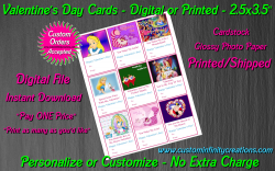 Alice in Wonderland Digital or Printed Valentines Day Cards 2.5x3.5 Sheet #1