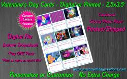 Alice in Wonderland Digital or Printed Valentines Day Cards 2.5x3.5 Sheet #2