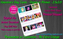 Alice in Wonderland Digital or Printed Valentines Day Cards 2.5x3.5 Sheet #3