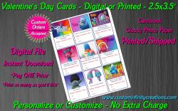 Trolls Digital or Printed Valentines Day Cards 2.5x3.5 Sheet #1