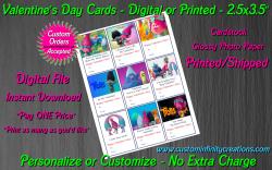 Trolls Digital or Printed Valentines Day Cards 2.5x3.5 Sheet #2