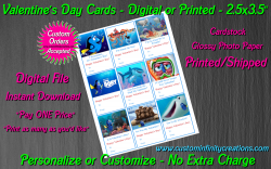 Finding Dory Digital or Printed Valentines Day Cards 2.5x3.5 Sheet #1