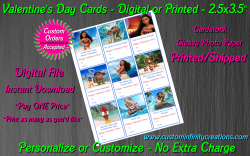 Moana Digital or Printed Valentines Day Cards 2.5x3.5 Sheet #1
