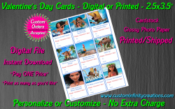Moana Digital or Printed Valentines Day Cards 2.5x3.5 Sheet #2