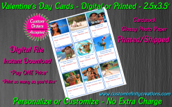 Moana Digital or Printed Valentines Day Cards 2.5x3.5 Sheet #3