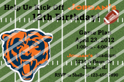 Chicago Bears Personalized Digital Party Invitation #A (any occasion)