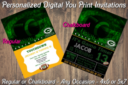 Green Bay Packers Personalized Digital Party Invitation #2 Regular or Chalkboard