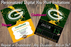 Green Bay Packers Personalized Digital Party Invitation #3 Regular or Chalkboard
