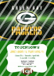 Green Bay Packers Personalized Party Invitation #47 (digital file you print)