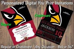 Arizona Cardinals Personalized Digital Party Invitation #1 Regular or Chalkboard