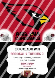 Arizona Cardinals Personalized Party Invitation #2 (digital file you print)