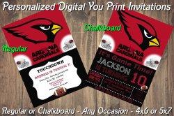 Arizona Cardinals Personalized Digital Party Invitation #2 Regular or Chalkboard
