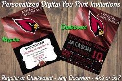 Arizona Cardinals Personalized Digital Party Invitation #3 Regular or Chalkboard