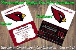 Arizona Cardinals Personalized Digital Party Invitation #4 Regular or Chalkboard