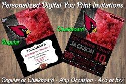 Arizona Cardinals Personalized Digital Party Invitation #6 Regular or Chalkboard