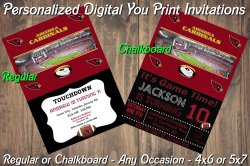 Arizona Cardinals Personalized Digital Party Invitation #8 Regular or Chalkboard
