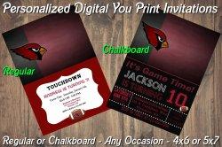 Arizona Cardinals Personalized Digital Party Invitation #9 Regular or Chalkboard