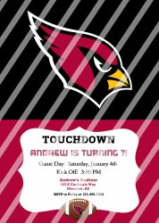 Arizona Cardinals Personalized Party Invitation #16 (digital file you print)