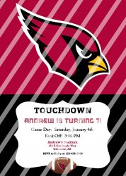 Arizona Cardinals Personalized Party Invitation #17 (digital file you print)