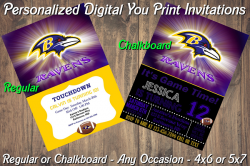 Baltimore Ravens Personalized Digital Party Invitation #1 Regular or Chalkboard