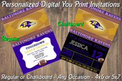 Baltimore Ravens Personalized Digital Party Invitation #2 Regular or Chalkboard