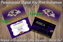 Baltimore Ravens Personalized Digital Party Invitation #10 Regular or Chalkboard