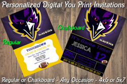 Baltimore Ravens Personalized Digital Party Invitation #11 Regular or Chalkboard