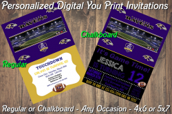 Baltimore Ravens Personalized Digital Party Invitation #12 Regular or Chalkboard