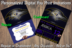 Baltimore Ravens Personalized Digital Party Invitation #13 Regular or Chalkboard