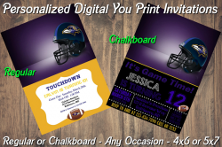Baltimore Ravens Personalized Digital Party Invitation #16 Regular or Chalkboard
