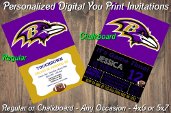 Baltimore Ravens Personalized Digital Party Invitation #17 Regular or Chalkboard
