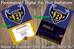 Baltimore Ravens Personalized Digital Party Invitation #18 Regular or Chalkboard