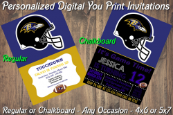 Baltimore Ravens Personalized Digital Party Invitation #19 Regular or Chalkboard