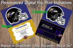 Baltimore Ravens Personalized Digital Party Invitation #20 Regular or Chalkboard