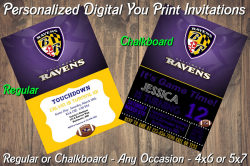 Baltimore Ravens Personalized Digital Party Invitation #25 Regular or Chalkboard