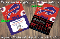 Buffalo Bills Personalized Digital Party Invitation #1 (Regular or Chalkboard)