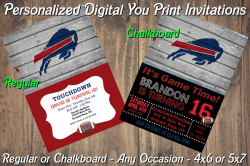 Buffalo Bills Personalized Digital Party Invitation #2 (Regular or Chalkboard)