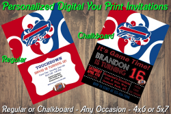 Buffalo Bills Personalized Digital Party Invitation #12 (Regular or Chalkboard)