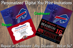 Buffalo Bills Personalized Digital Party Invitation #13 (Regular or Chalkboard)