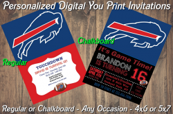 Buffalo Bills Personalized Digital Party Invitation #15 (Regular or Chalkboard)