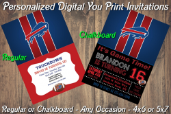 Buffalo Bills Personalized Digital Party Invitation #16 (Regular or Chalkboard)