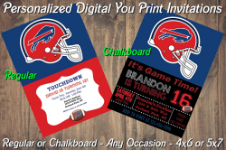 Buffalo Bills Personalized Digital Party Invitation #17 (Regular or Chalkboard)