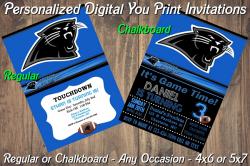 Carolina Panthers Personalized Digital Party Invitation #1 Regular or Chalkboard